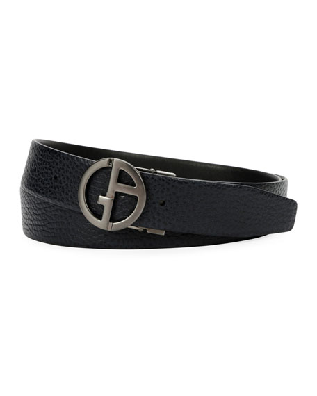 Men's Logo-Buckle Textured Vitello Leather Belt