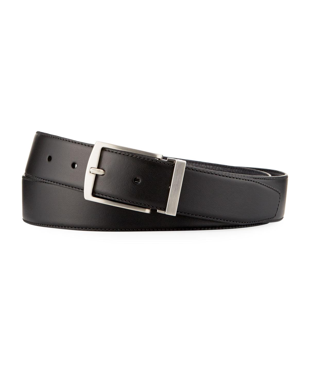 Men's Dual Textured Leather Belt, Black/Blue by Giorgio Armani