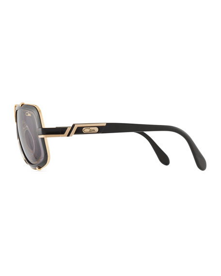 Men's 61mm Square Acetate/Metal Aviator Sunglasses