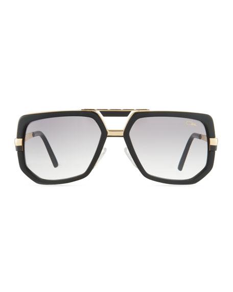 Men's Hexagonal Acetate/Metal Aviator Sunglasses