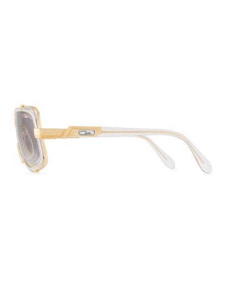 Men's 61mm Square Acetate/Metal Aviator Sunglasses