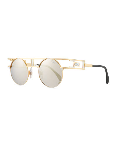 Men's Round Double-Bar Metal Sunglasses