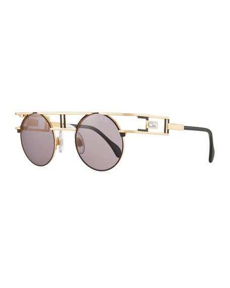 Cazal Men's Round Metal Double-Bar Sunglasses