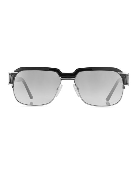 Men's Square Half-Rim Acetate/Metal Sunglasses