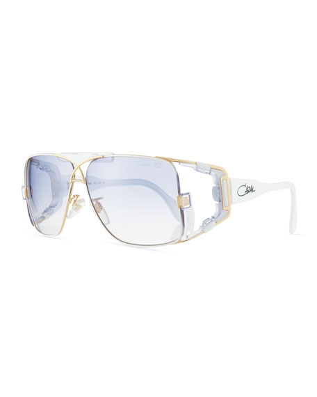 Cazal Men's Acetate/Metal Wrap Sunglasses