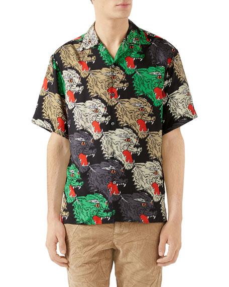 Men's Multicolor Panther-Print Silk Shirt