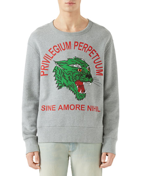 Men's Green Panther Privilegium Graphic Sweatshirt
