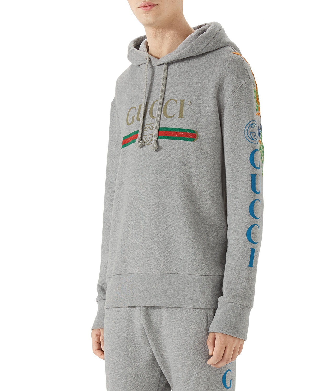8d992e221 Gucci Men's Logo Graphic Pullover Hoodie | Neiman Marcus