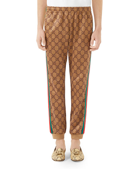 Men'S Large Vintage Logo-Print Track Pants, Gg Technical Jersey