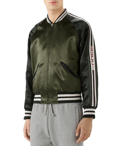 0d074758a13 Gucci Raglan-Sleeve Varsity Jacket In Green | ModeSens