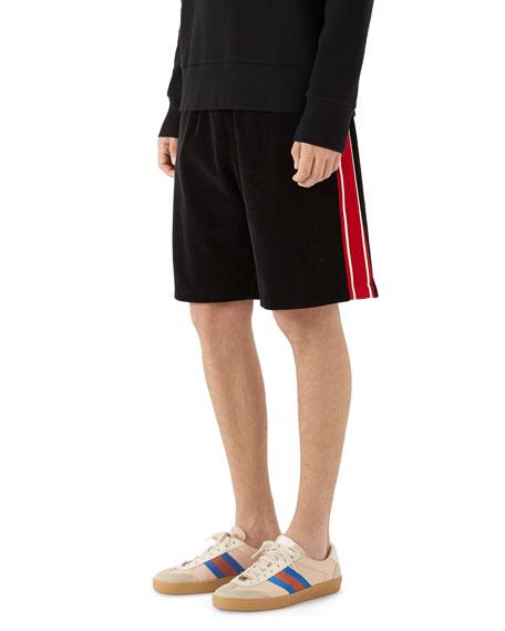 Side-Stripe Velour Track Shorts