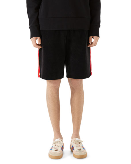 Side-Stripe Velour Track Shorts, Black Chenille