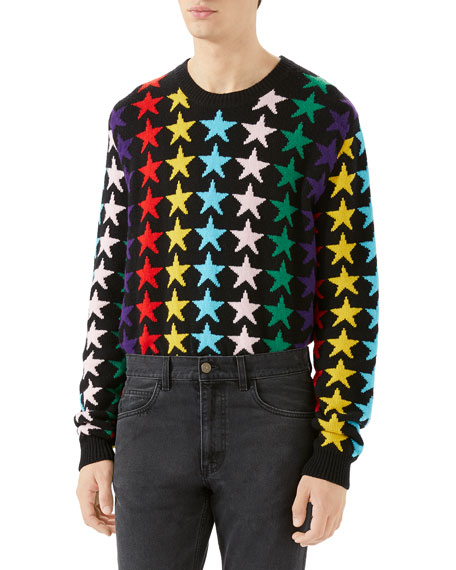 Men's Multicolor Stars Wool Sweater