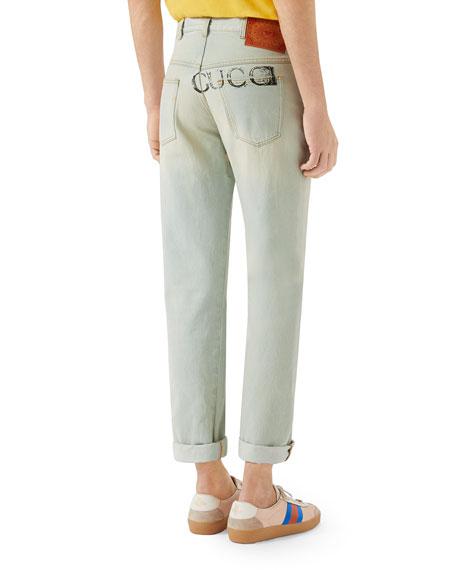 Men's Bleached 80s Straight-Leg Jeans