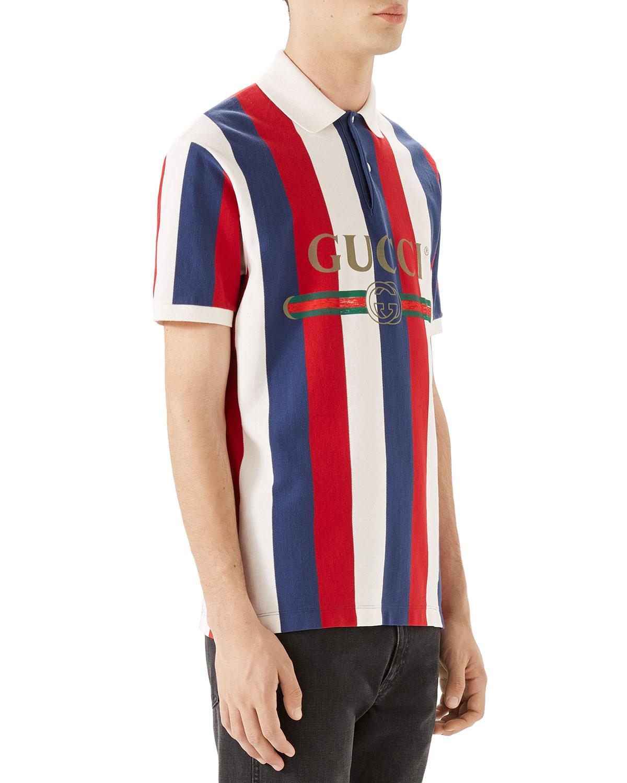 a8f45988d Gucci Men's Striped Pique Polo Shirt | Neiman Marcus