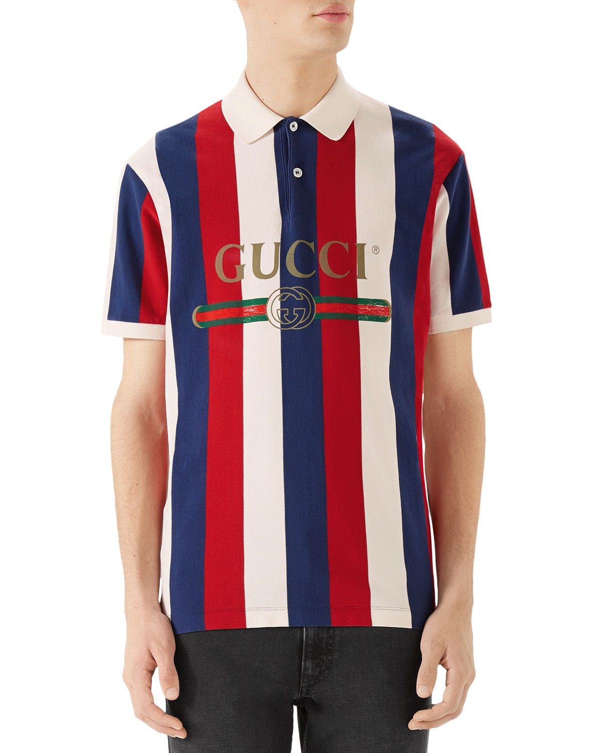0f542df0ff5 Gucci Men s Striped Pique Polo Shirt