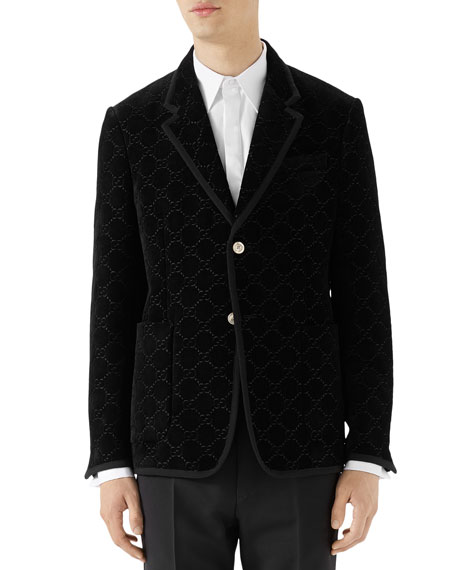Black Grosgrain-Trimmed Embroidered Velvet Blazer in Pearl