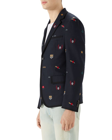 Men's Embroidered Emblems Cotton Two-Button Blazer