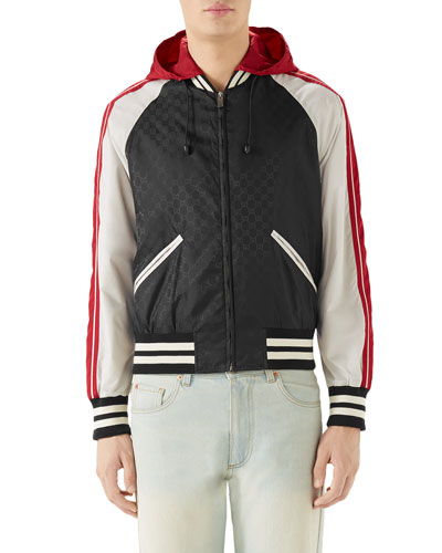 Men's Tricolor Hooded Bomber Jacket