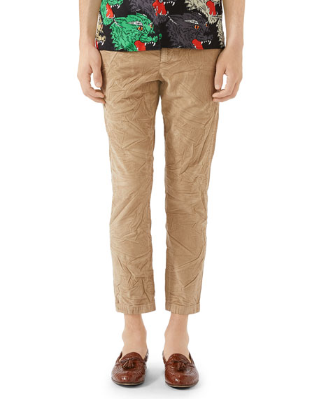 Gucci Men's Stretch-Corduroy Ankle Pants