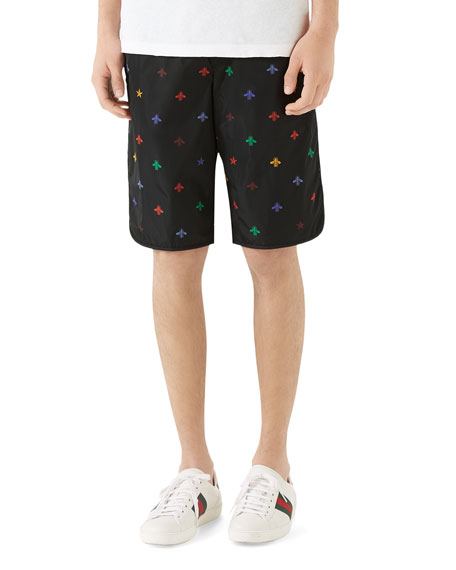 Men's Signature Bee-Embroidered Long Swim Trunks
