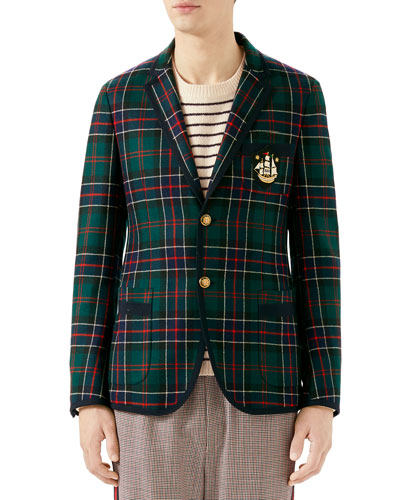 202e1742f Gucci Men's Tartan Taped Two-Button Blazer