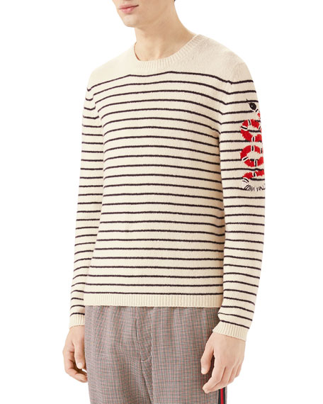 Men's Striped Wool Crewneck Sweater with Snake