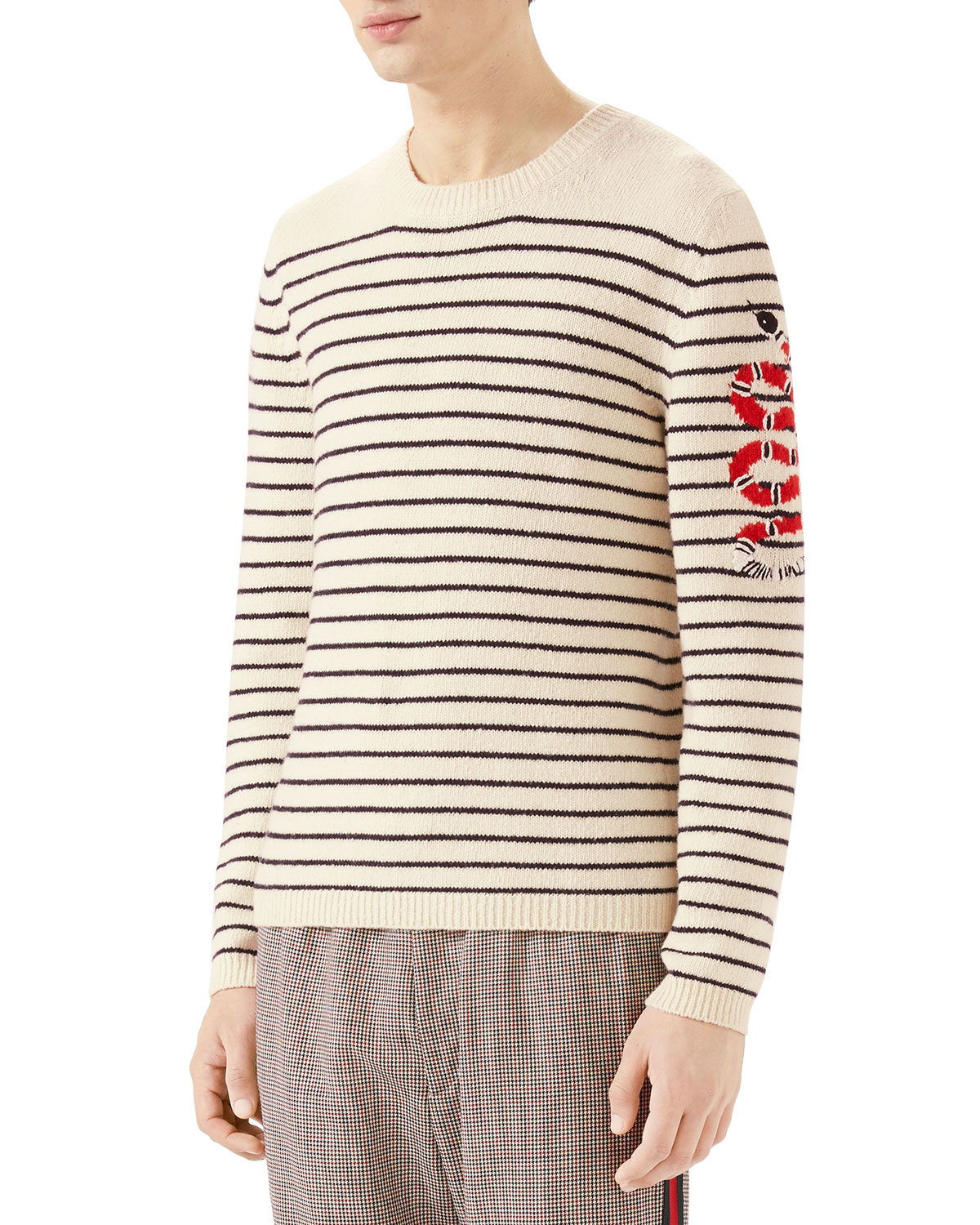 4a555e322a46d5 Gucci Men s Striped Wool Crewneck Sweater with Snake