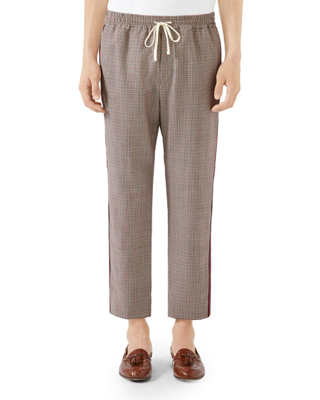 Men's Check Wool-Mohair Drawstring Trousers