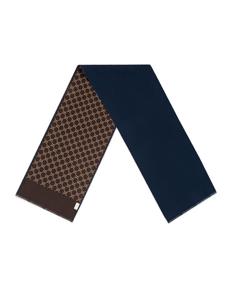 Men's Reversible Wool-Silk Scarf