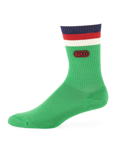 Gucci Men's Game-Patch Cotton-Blend Socks with Web Cuff,