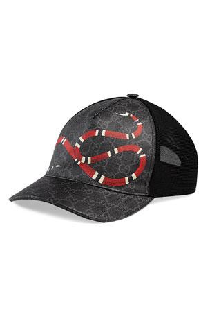 Gucci Men's King Snake GG Supreme Baseball Cap