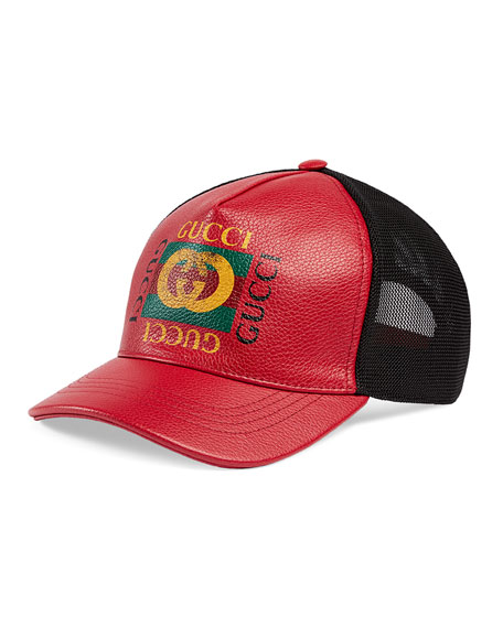Men's Vintage Logo-Print Baseball Cap, Red/Black