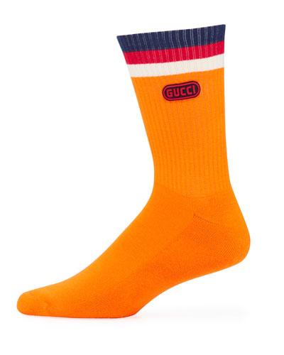 Men's Game-Patch Cotton-Blend Socks with Web Cuff, Orange
