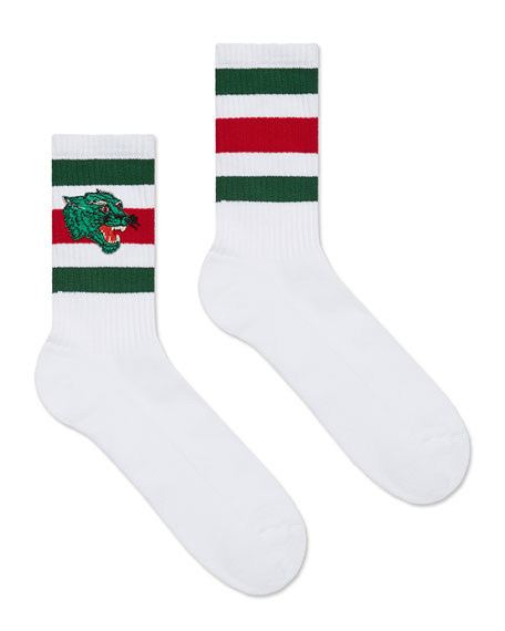 Gucci Men's Wolves-Patch Cotton-Blend Socks, White/Green