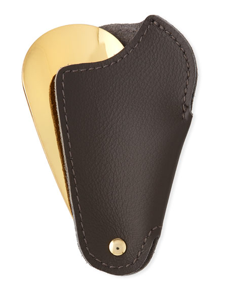 Golden Travel Shoe Horn with Leather Case, Dark Brown