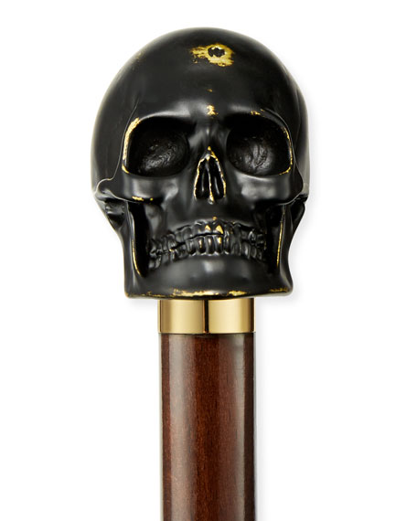 Rock & Roll Skull Shoe Horn, Black/Gold