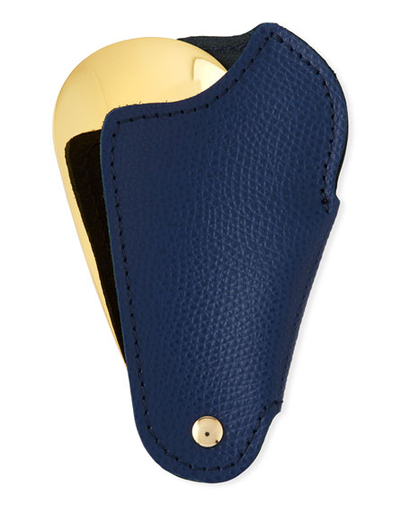 Golden Travel Shoe Horn with Leather Case, Blue
