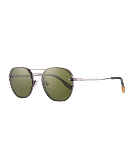 Ermenegildo Zegna Men's Round Titanium Aviator Sunglasses