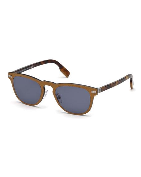 Ermenegildo Zegna Men's Metal Rimmed Keyhole Sunglasses