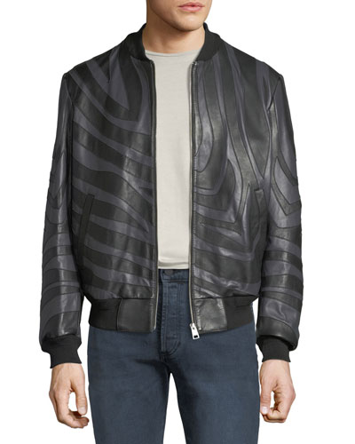 Men's Tiger-Striped Leather Bomber Jacket