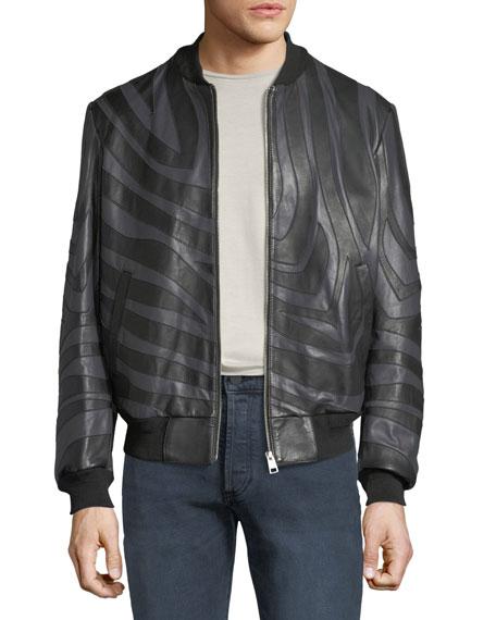 Men's Tiger-Striped Leather Bomber Jacket