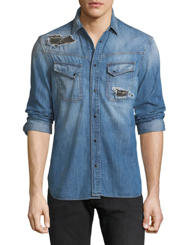 Men's Denim Western Shirt with Studded Patches