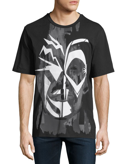 JUST CAVALLI Men'S Face Graphic T-Shirt in Black