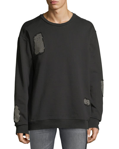 Stud-Patch Crewneck Sweatshirt