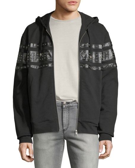 Men's Grommet-Detail Zip-Front Hoodie Sweatshirt