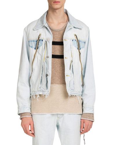 Men's Zip-Detail Denim Jacket