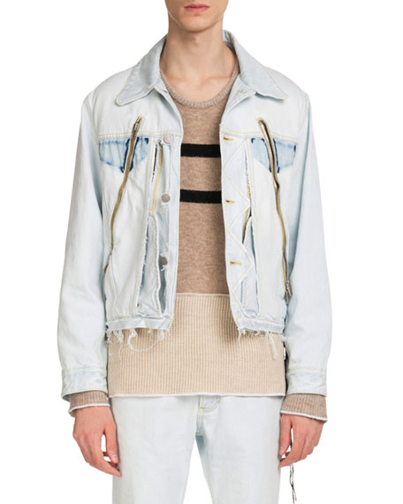 Men's Zip-Detail Denim Jacket