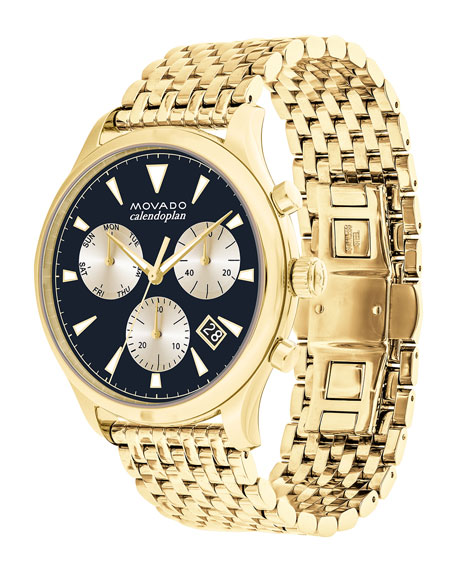Men's Heritage Series Calendoplan Bracelet Watch, Gold