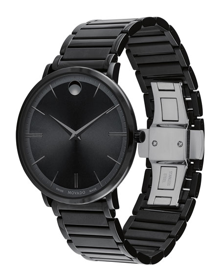 Men's 40mm Ultra Slim Watch with Bracelet, Black